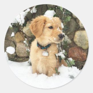 Schnee-Welpe - Labradorwelpe Runder Aufkleber
