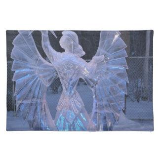 Schnee-Winter-Skulpturengel Christentums-Glaube Stofftischset