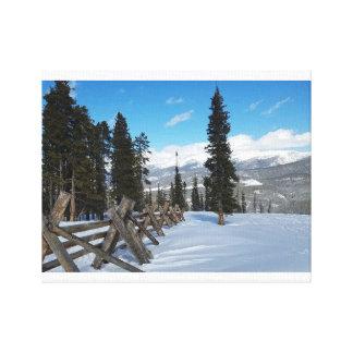 Schnee-Zaun Leinwanddruck