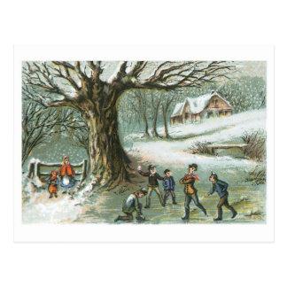 Schneeball-Kampf - Vintage Feiertags-Karte Postkarte