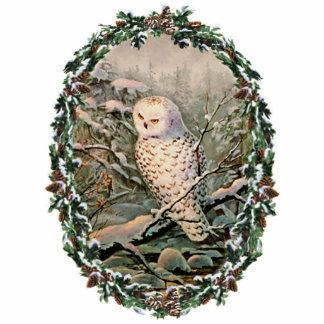 SCHNEEBEDECKTE EULE u. KRANZ durch SHARON SHARPE Fotoskulptur Ornament