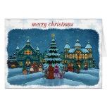 schneebedeckter Rand der Weihnachtsstadtanmerkungs Mitteilungskarte