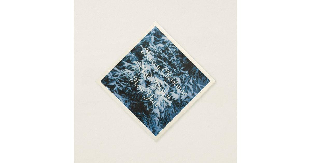 schneefall winter weihnachtsbaum papierserviette zazzle. Black Bedroom Furniture Sets. Home Design Ideas