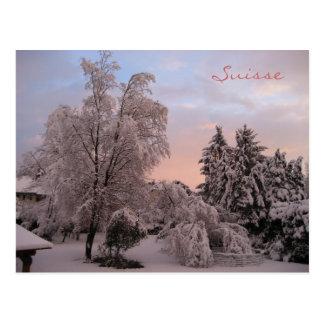 Schneefälle in der Schweiz Postkarte