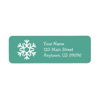 Schneeflocke-Adressen-Etikett C (aquamarin) Kleiner Adressaufkleber