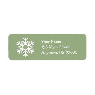 Schneeflocke-Adressen-Etikett C (weises Grün) Rücksende Aufkleber