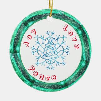 Schneeflocke-Baum-Schablone Rundes Keramik Ornament