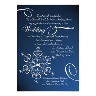 Schneeflocke-blaue Eleganz-Winter-Hochzeit Karte