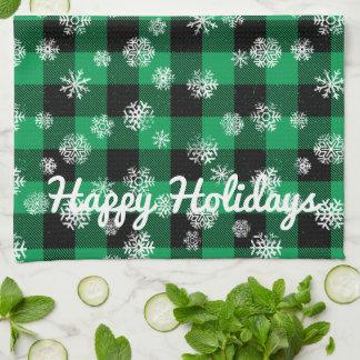 Schneeflocke-Büffel-kariertes Grün L glückliche Handtuch