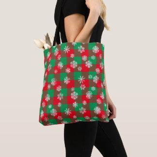 Schneeflocke-Büffel-kariertes Weihnachten Tasche