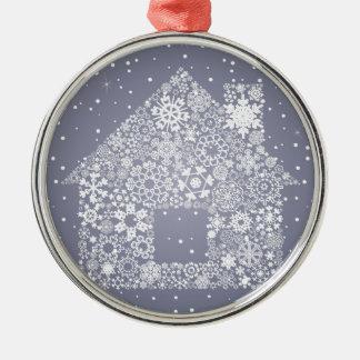 Schneeflocke das Haus Rundes Silberfarbenes Ornament