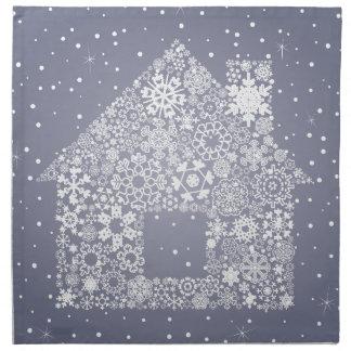 Schneeflocke das Haus Stoffserviette