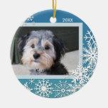 Schneeflocke-Foto-Rahmen für Weihnachten Rundes Keramik Ornament