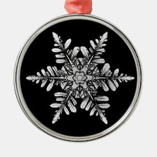 Schneeflocke-Foto-Verzierung, 1 mit Seiten Rundes Silberfarbenes Ornament