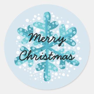 Schneeflocke-frohe Weihnacht-Aufkleber-Art 1 Runder Aufkleber