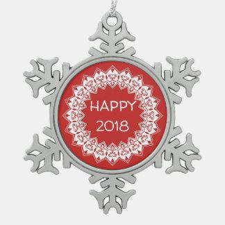 Schneeflocke-glückliche Verzierung 2018 Schneeflocken Zinn-Ornament
