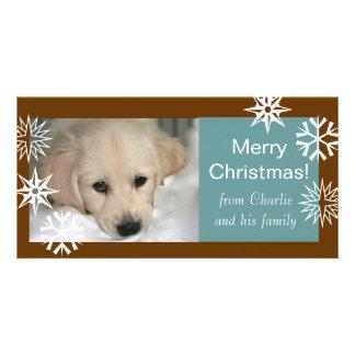 Schneeflocke-HundeweihnachtsFoto kardiert Brown-Bl Photo Karte