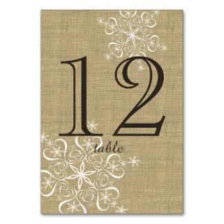 Schneeflocke-Leinwand-Tischnummer-Karte