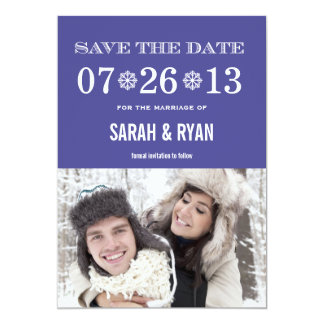 Schneeflocke-lila Save the Date Foto-Einladungen 12,7 X 17,8 Cm Einladungskarte