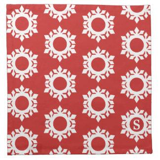 Schneeflocke-Muster-Monogramm-rote Stoffserviette