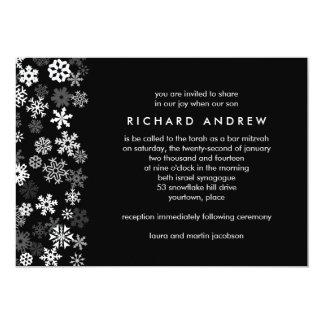 Schneeflocke-Rand-Bar Mitzvah 12,7 X 17,8 Cm Einladungskarte