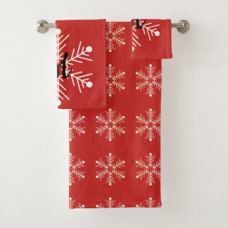 Schneeflocke-rote Badhandtuch Set