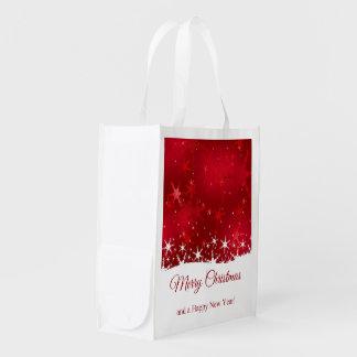 Schneeflocke-rote frohe Weihnachten - Wiederverwendbare Einkaufstasche