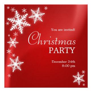 Schneeflocke-rote WeihnachtsParty Einladung