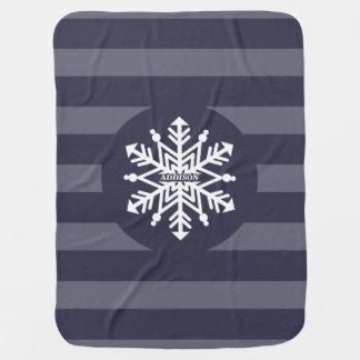 Schneeflocke Stripes personalisiertes mit dem Babydecke