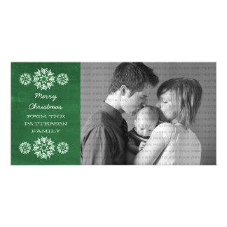 Schneeflocke-Tafel-Feiertags-Foto-Karte, grün Photogrußkarten