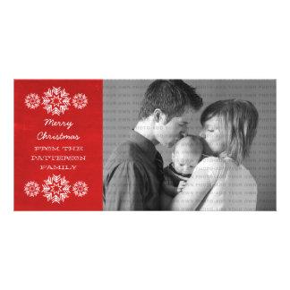 Schneeflocke-Tafel-Feiertags-Foto-Karte, rot Fotokartenvorlagen