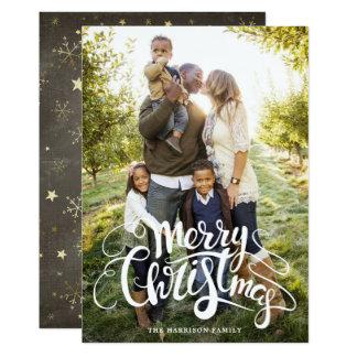 Schneeflocke-und Stern-volle Foto-Weihnachtskarte 12,7 X 17,8 Cm Einladungskarte