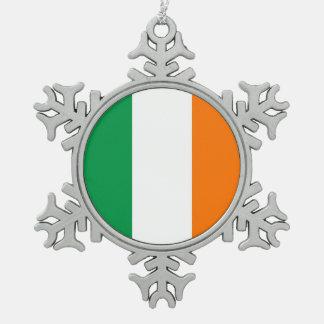 Schneeflocke-Verzierung mit Irland-Flagge Schneeflocken Zinn-Ornament