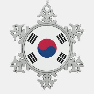 Schneeflocke-Verzierung mit Südkorea-Flagge Schneeflocken Zinn-Ornament