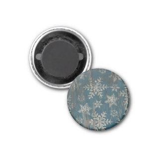 Schneeflocke Weihnachtsfeiertags-rustikaler Magnet Runder Magnet 3,2 Cm