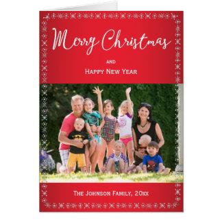 Schneeflocke-Weihnachtsgruß-Karten mit Foto Grußkarte