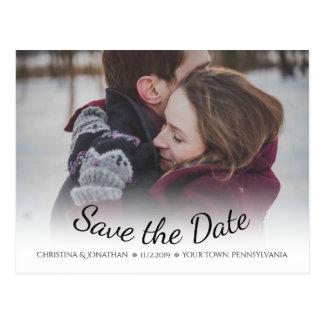 Schneeflocke-Winter Save the Date Wedding Postkarte