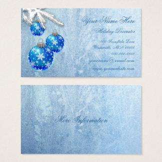 Schneeflocken auf Blau verziert Frost Visitenkarte