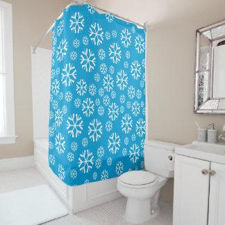 Schneeflocken auf blauem Hintergrund-Winter-Thema Duschvorhang