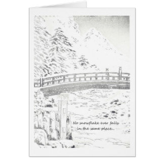 Schneeflocken auf der Brücke Karte