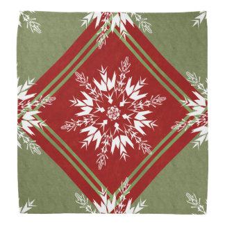 Schneeflocken auf rotem und grünem geometrischem kopftuch