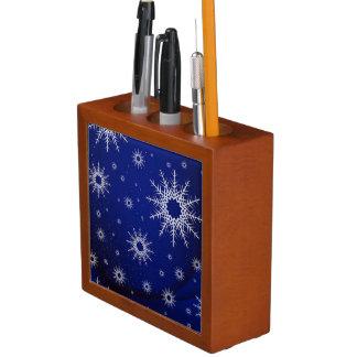Schneeflocken blau stifthalter