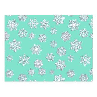 Schneeflocken des Weiß 3 d auf einem Postkarte