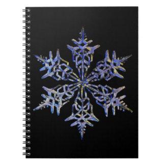 Schneeflocken, gestickter Blick, Schwarzes Notiz Buch