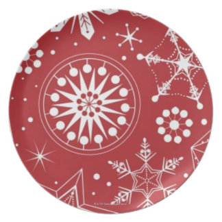 Schneeflocken im Strumpf Teller
