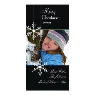 Schneeflocken ~ Schwarzweiss-Weihnachten, grüne Karte