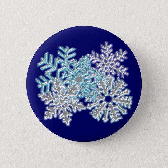 Schneeflocken snow flakes runder button 5,1 cm