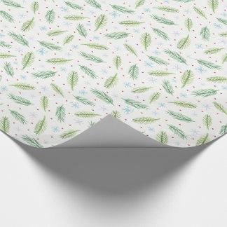 Schneeflocken und Kiefern-Packpapier | mehrfarbig Geschenkpapier