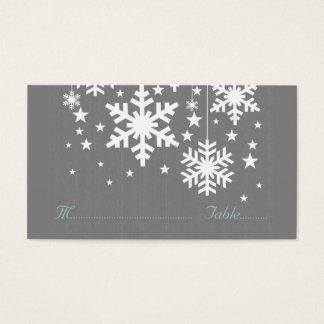 Schneeflocken und Sterne Platzkarte, grau Visitenkarte