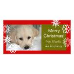 Schneeflocken verfolgen frohe Weihnacht-Foto-Karte Bildkarten